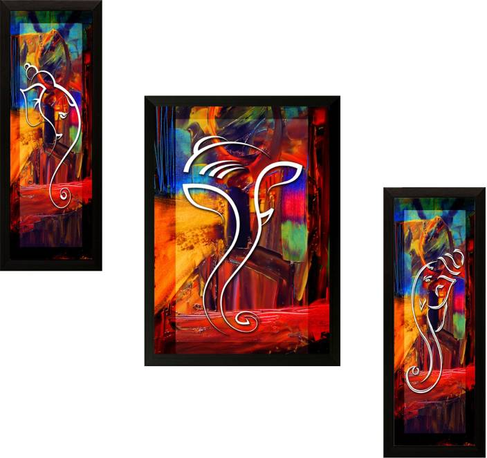 Iarts Contemporary Paintings On Canvas 3 Styles Canvas: SAF Ganesh Modern Art Ink Painting Price In India