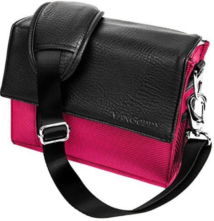 Vangoddy Pink Fashion Shoulder Handbag Fits Canon Slr Dslr Eos Rebel Camcorder / Lens Accessories Case - PT_CAMLEA204_APCan Camera Bag