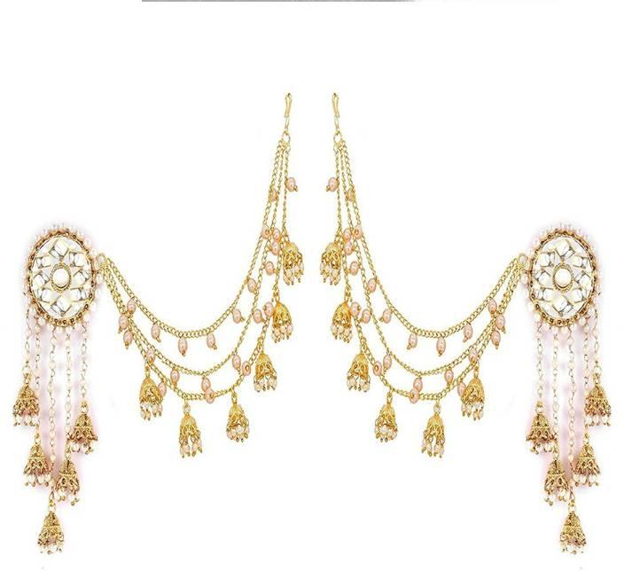 Zeneme Jewellery Traditional Stylish Gold Plated Polki   Pearl Bahubali  Jhumki Jhumka Earrings For Girls 78ba117dc7fb