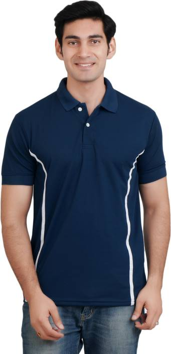 EPG Solid Men's Polo Neck Dark Blue T-Shirt