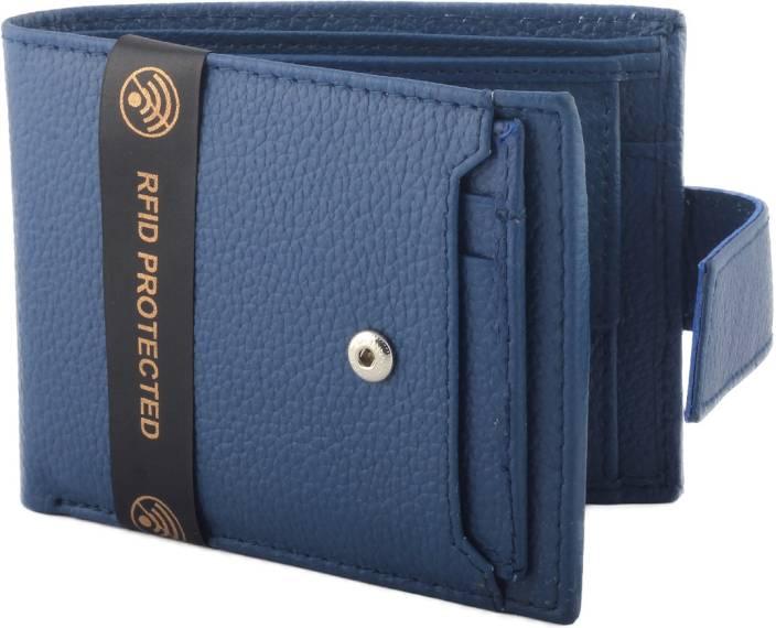 Hidelink Men Casual Blue Genuine Leather Wallet