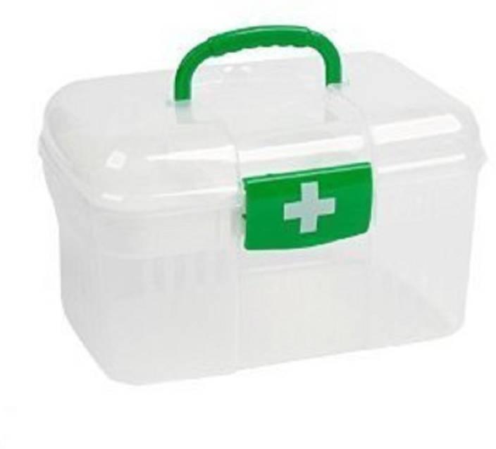 Nika Plastic First Aid Emergency Medical Kit Box Medicine Box Organizer  (Health Bax) Pill Box