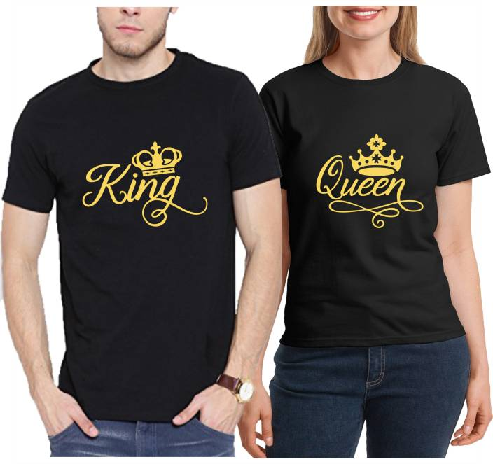 8343bd10 RS Print Printed Men & Women Round Neck Black T-Shirt - Buy RS Print ...