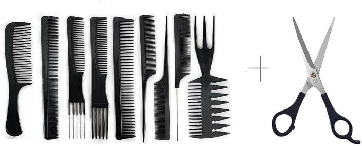 AASA 9 Pcs Salon hair cut comb + Hair cutting scissor (combo set)