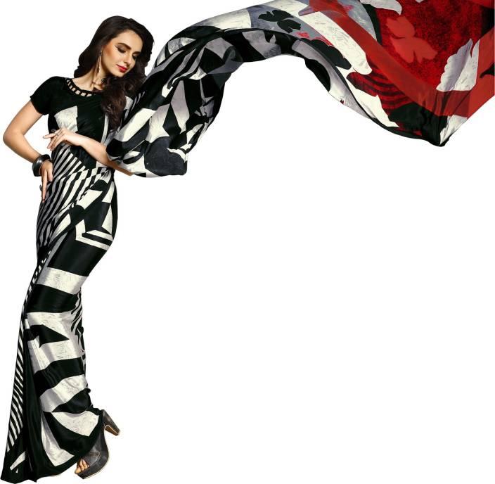 a66e6e8045 Jaanvi fashion Digital Prints, Printed Bollywood Crepe Saree (Multicolor)