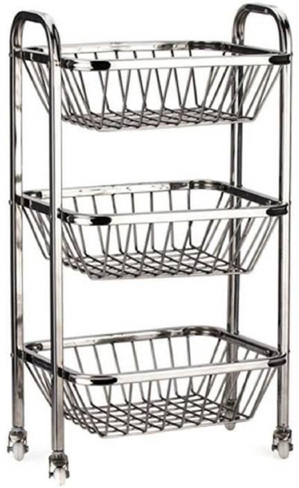Kuber Industries Stainless Steel Three Tier Fruits Vegetable Trolley Multipurpose Kitchen Storage Shelf Rack