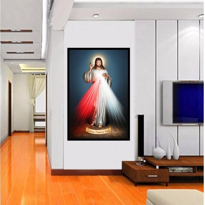 367160e31 SIZE (2FT * 4FT ) 3D Huge Mural The Sacred Heart of Jesus Mercy Light  Portrait Wall ...