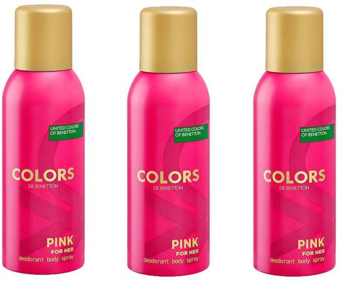 United Colors Of Benetton Pink For Her Deodorant Spray Women 450 Ml Pack 3
