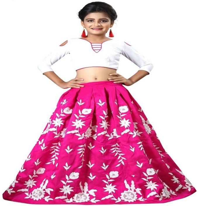 fbdf808c196 F Plus Fashion Girls Lehenga Choli Party Wear Embroidered Lehenga Choli ( Pink