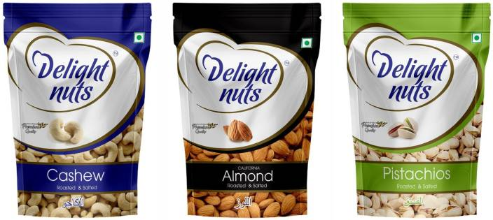 Delight Nuts Dry Fruits Combo Pack-Almonds, Cashew & Pistachios-Roasted & Salted(200gm each) Almonds, Cashews, Pistachios
