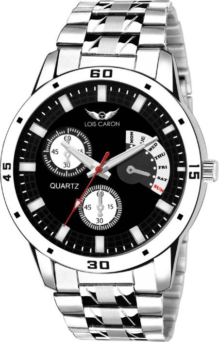 Lois Caron Lcs-4048 Chronograph Pattern BLACK DAIL WRIST WATCHES Watch  - For Men