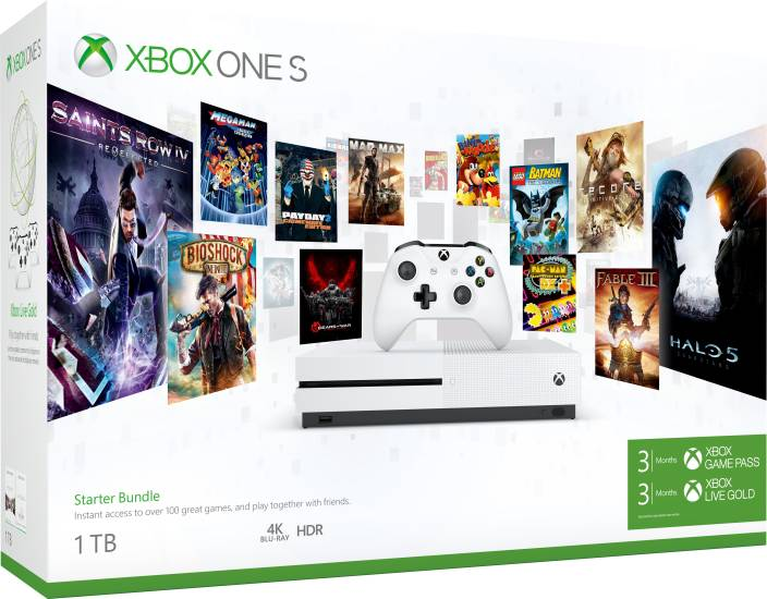 Microsoft Xbox One S 1 Tb With Xbox Starter Bundle 3 Months Xbox Game Pass And Xbox Live Gold