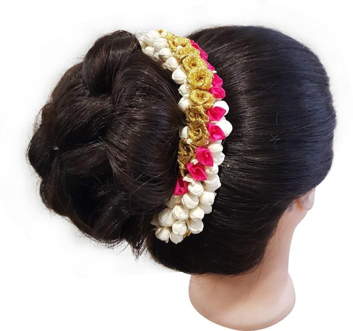 Flower Gajra Hair Accessories Bun Juda Maker For Women and Girls Multicolored