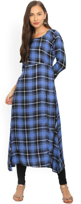 Gerua Checkered Women's A-line Kurta  (Blue)