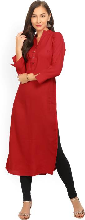 Gerua Solid Women's Straight Kurta  (Red)