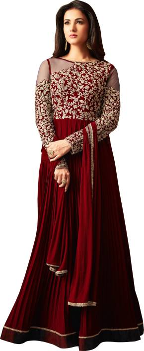 Fashion Basket Faux Georgette Embroidered Semi-stitched Salwar Suit Dupatta Material
