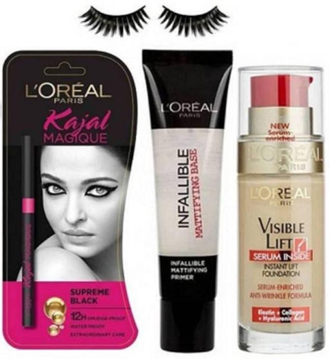 Royal combo Eyelashes,Loreal Paris Makeup Combo Kit(Foundation,Kajal&Primer) (Set of 4)