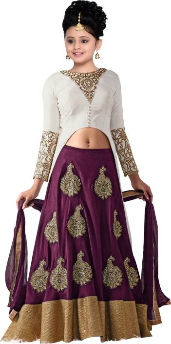 08660991acb4 Wommaniya Impex Girls Lehenga Choli Ethnic Wear Embroidered Lehenga Choli  (Purple