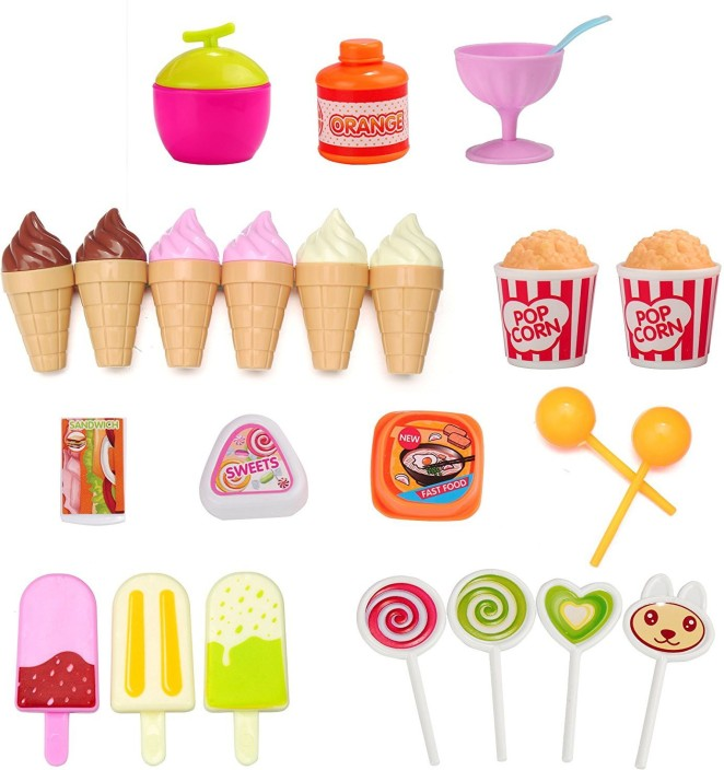 "For 15/""-18/"" Girl Dolls Mini Food Pretend Play FAST FOOD MEAL with Ice Cream Bar"