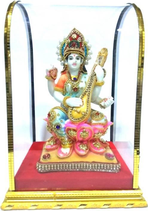 5cc9c2983 VIDHI ARTS Hand Painted and Stone Studded Maa Saraswati Idol with Cabinet -  VA0528 Decorative Showpiece - 24.77 cm (Polyresin