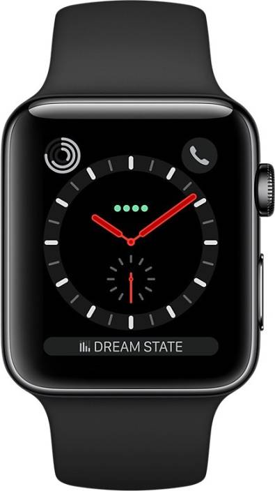 6600128d9475 Apple Watch Series 3 GPS + Cellular - 42 mm Space Black Stainless Steel Case  with Sport Band (Black Strap Regular)
