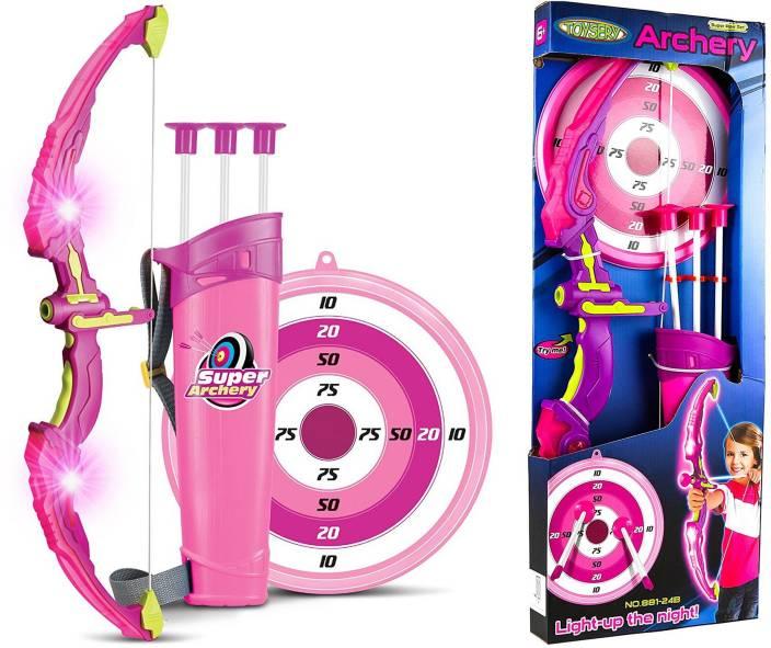 Wishkey Bow   Arrow Pink Archery Set Toy For kids With Target Board ... a369da304ff09