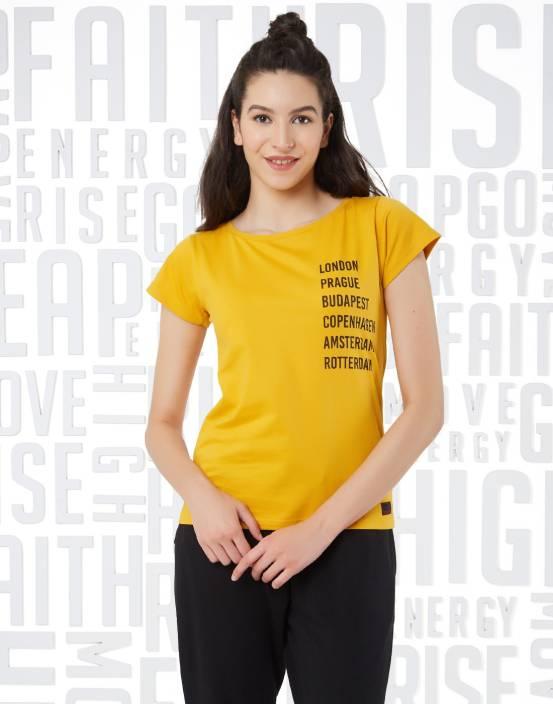 Metronaut Graphic Print Women's Round Neck Yellow T-Shirt