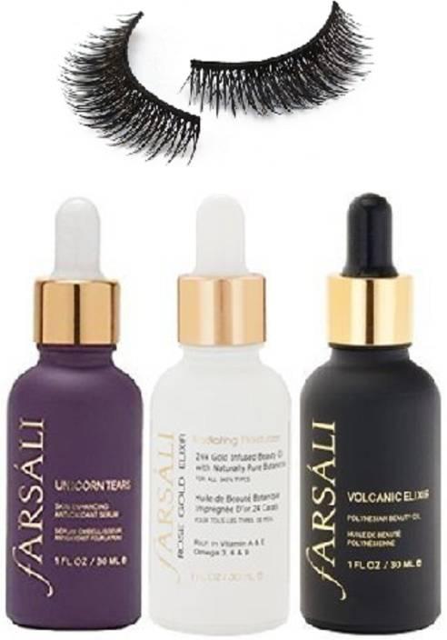 Professional kit Eyelashes & Farsali rose gold elixir 24k Gold Infused beauty oil ,Volcanic Elixir