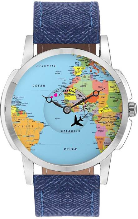BigOwl Travel Watch Airplane World Map Design Leather Strap Casual Wrist  Watch for Men - Perfect Gift for travellers - Watch with moving Airplane ...