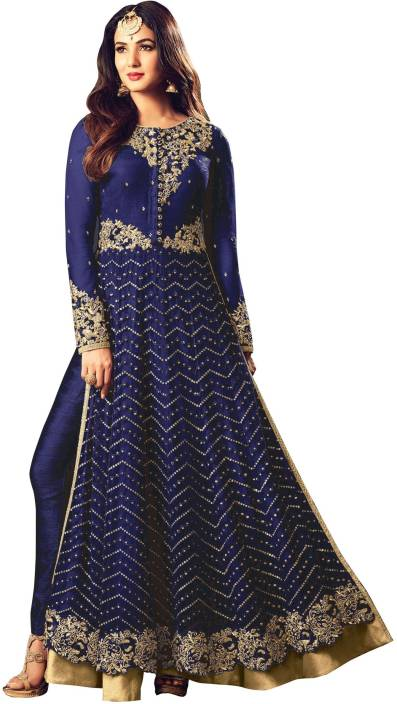 Fashion Basket Net Embroidered Semi-stitched Salwar Suit Dupatta Material