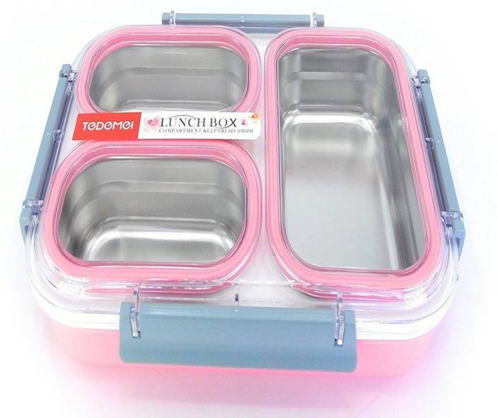 a65cb1b0f4 Clastik Tedmei Stainless Steel School Lunch Box for Kids and  teenager,Transparent Lid - 1.2 Ltrs 3 Containers Lunch Box (1200 ml)