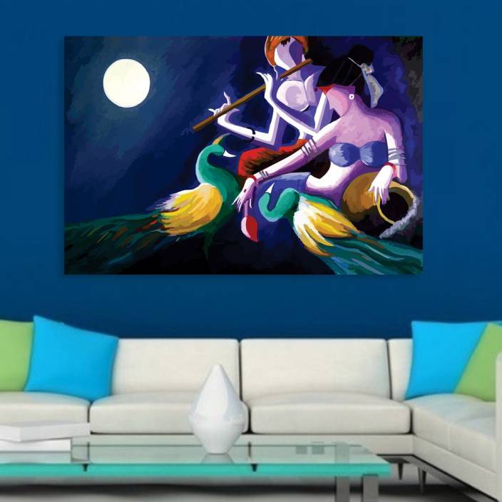 Inephos Unframed Canvas Painting Beautiful Radha Krishna Art Wall Painting For Living Room Bedroom Office Hotels Drawing Room Digital Reprint 61