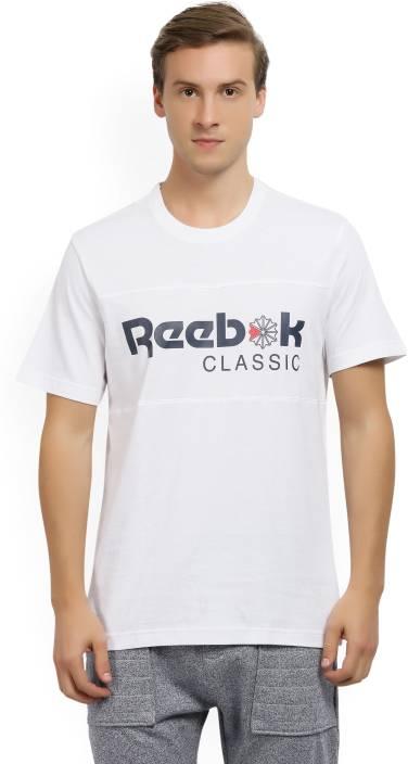 00b8ac64 REEBOK Printed Men's Round Neck White T-Shirt - Buy White REEBOK ...