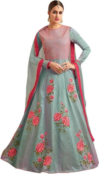 Fashion Basket Silk Embroidered, Floral Print Semi-stitched Salwar Suit Dupatta Material