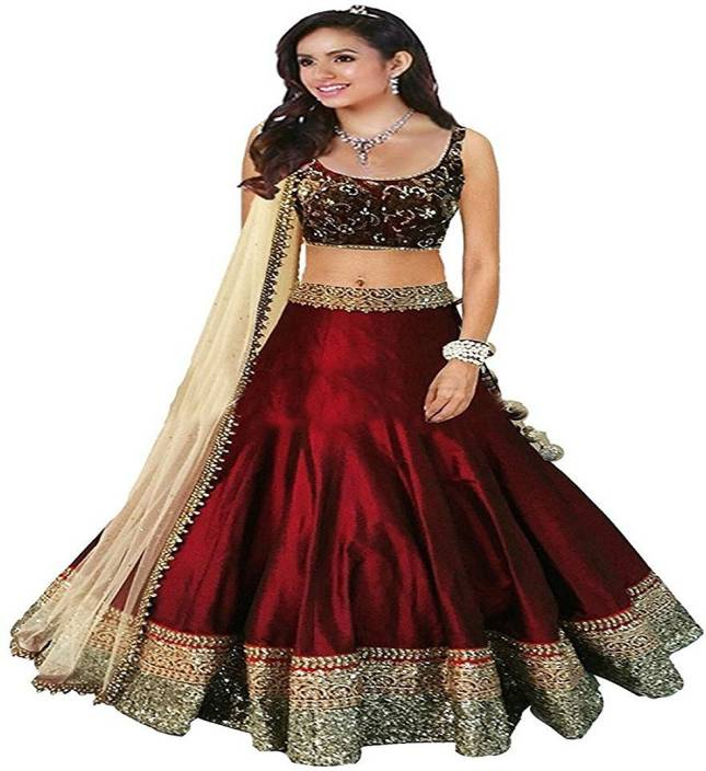 1549c1f54a Fashion World Girl's Lehenga Choli Party Wear Embroidered Lehenga Choli  (Maroon, Pack of 1)
