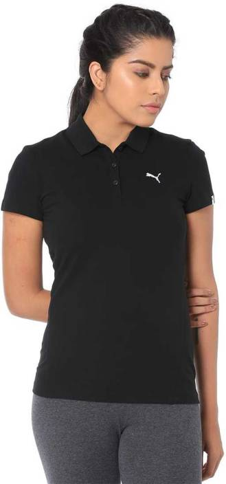 971fc274 Puma Solid Women Polo Neck Black T-Shirt - Buy Puma Solid Women Polo Neck  Black T-Shirt Online at Best Prices in India | Flipkart.com
