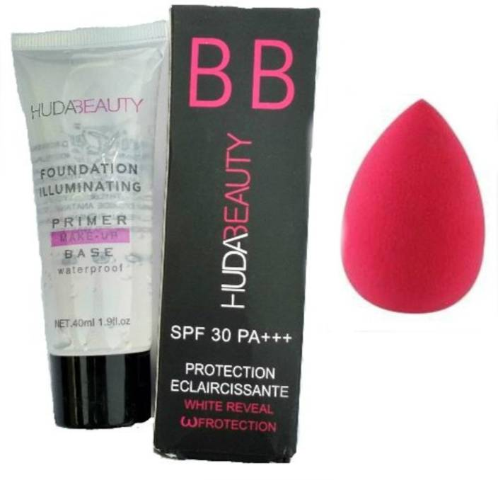 Huda Beauty Combo Of Bb Glow Cream Spf30 For All Skin (Sun Uv Rays  Protection) & Primer (Waterproof Foundation Illuminating) WITH MAKEUP PUFF  SPONGE