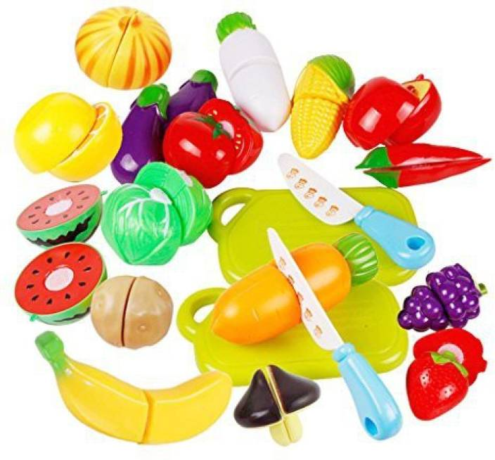 3763b8cc4d4 HMILYDYK Toy Food Fruit Vegetable Cutting Plastic Safety Kitchen Pretend  Play Educational Puzzle Learning Play Set