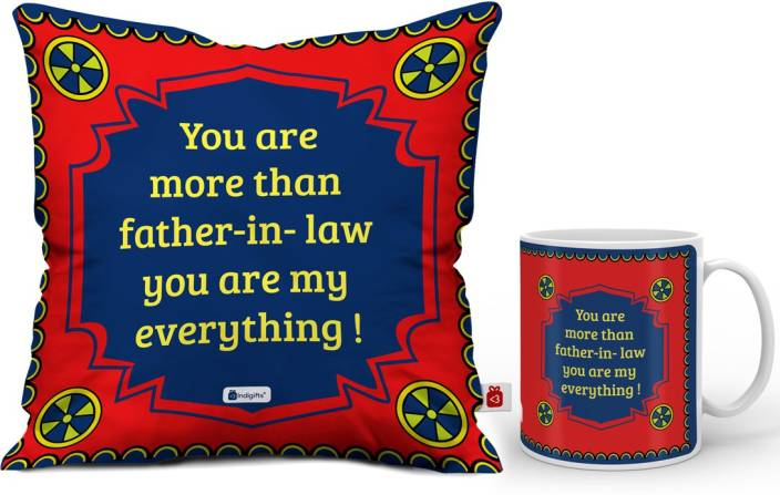 Indigifts Gift For Father In Law Fathers Birthday Dad Mug Papa Day D CM001 ILF17007 Cushion Set Price India