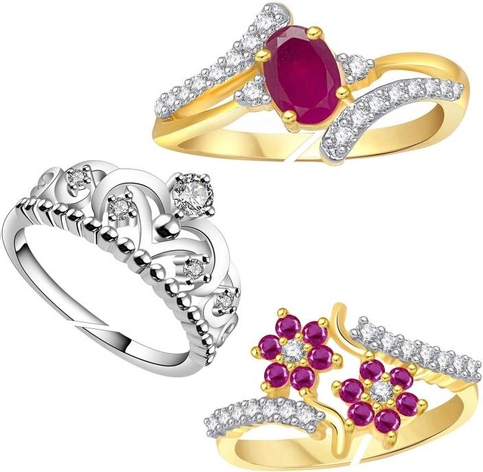 e67bf028893067 Lady Touch Lady touch Combo of Ruby 24K & Crown Gold Ring For Girls & Women  ...