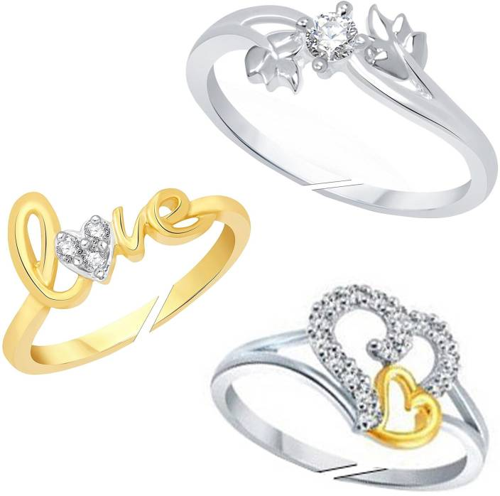 3a7d78dc1e Lady Touch Lady touch Cz Leaf, 2Heart & Love Gold Plated Combo OF Adustable  Finger