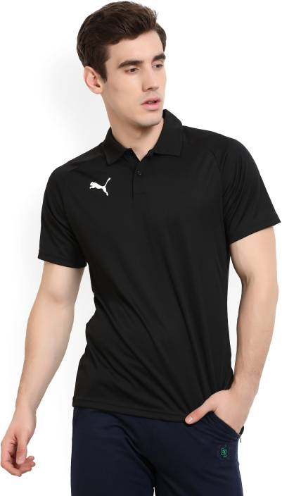 54f2a6cc64 Puma Solid Men's Polo Neck Black T-Shirt