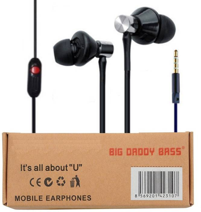 8c114e13c03 ubon BIG DADDY BASS EARPHONE WITH MIC Wired Headset with Mic (Black, In the  Ear)