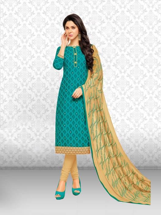 Divastri Chanderi Cotton Embroidered Salwar Suit Dupatta Material