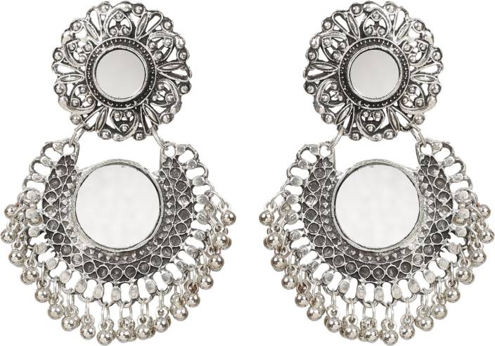 e942e5df2 Flipkart.com - Buy NAWAB Boho Gypsy Mirror Oxidised Silver Earrings for  girls and women (1 pair) Alloy Chandbali Earring Online at Best Prices in  India