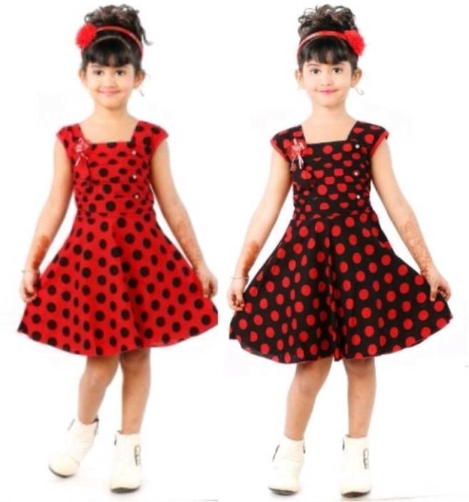 bb574a486375 N BAHUBALI Girls Midi/Knee Length Casual Dress (Multicolor, Sleeveless)