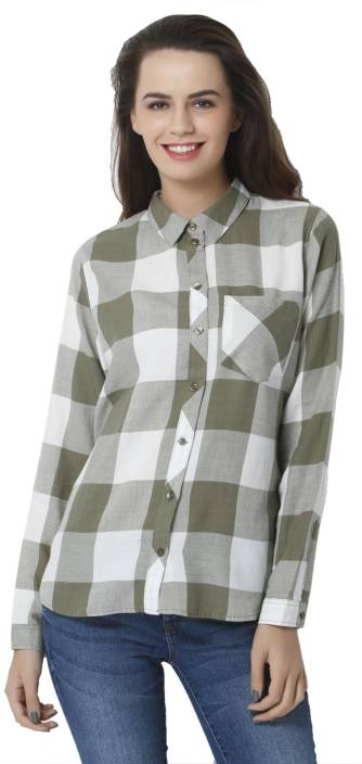fc62796c24 Only Women Checkered Casual White