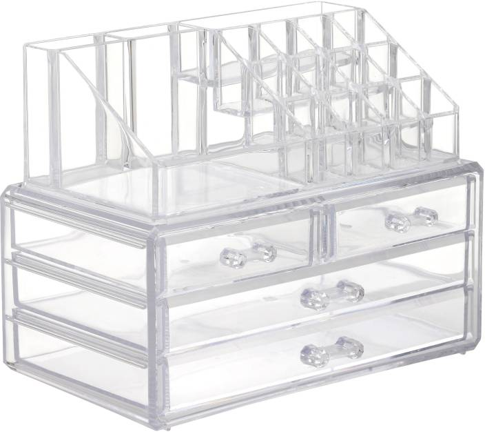 Royalkart Acrylic 4 Drawer Jewellery Cosmetic Storage Display Boxes Double Layer Beauty Vanity Jewellery Clear Acrylic Stand And Organizer Makeup