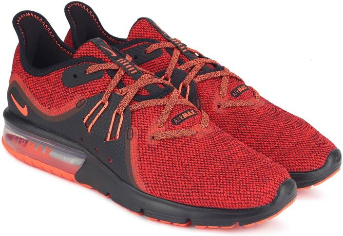pretty nice c0e36 c50f1 Nike NIKE AIR MAX SEQUENT 3 Running Shoes For Men (Red, Black)