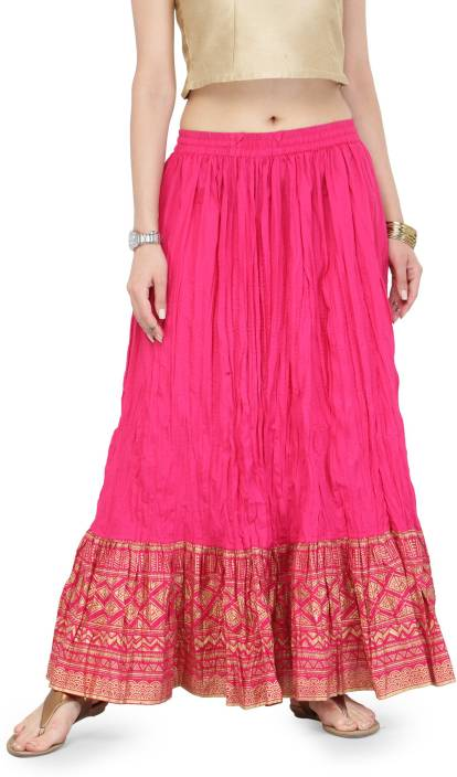 e7025621dc Varanga Printed Women's Flared Pink Skirt - Buy Varanga Printed Women's  Flared Pink Skirt Online at Best Prices in India | Flipkart.com